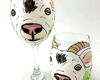 Goat Wine Glass, Hand Painted