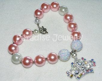 Princess Tiara Crown Bubblegum Pink Pearl Bead Necklace, Princess Birthday Pendant Chunky Bead, Baby Child, Photo Prop