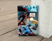 Iron Man Captain America Comic Book Light Switch Cover | Made from Authentic Marvel Comic Book Page | Man Cave, Superhero Fan, Father's Day