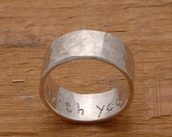 Hammered Wedding Ring, 11mm Width Engravable Mens Wedding Band, Engagement Ring in Sterling Silver,Promise Ring for Him, Single Band, DA51