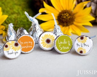 Printed personalized hershey kiss sticker Hershey kiss label Bridal shower Fall wedding Sunflower favor Ready to use Southern weddingYellow