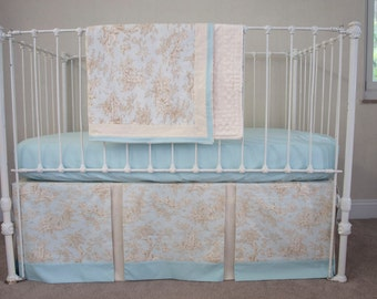 Classic Central Park Toile Baby Boy  Blue and Cream / Ivory Bumperless Crib Cot Bedding with Blanket