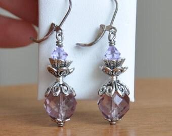 Lavender Victorian earrings, purple earrings, bridesmaid earrings, special occasion earrings, pretty earrings, vintage purple earrings