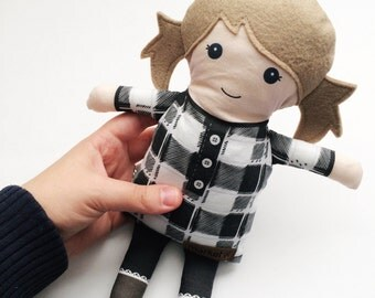 Fabric Doll - Buffalo Plaid Tunic | Baby Doll | Cloth Rag Doll