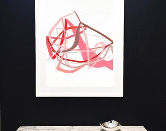 Love Knot-Large Original Painting on Paper-Soft Pinks-Red-Minimalist-Lines-Drawing-Airy-Modern Art-Original Art--Abstract Art-Love-Valentine