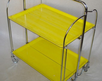 50s 60s Fold n Roll Convertible SERVING TABLE Trolley, Sunny Yellow Melamine, Bremshey Dinett, Mid Century Modern Germany