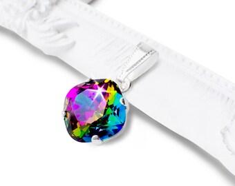 Rainbow Swarovski Crystal Necklace, Sparkly Rainbow Electra Cushion Cut Crystal Pendant Necklace, Rainbow Jewelry, Bridesmaid Necklace
