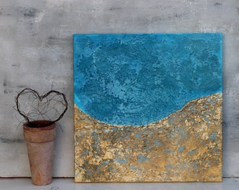 Abstract painting, turquoise, gold leaf, contemporary art, abstract, Modern Art, wall decor, Art Collectibles, impasto painting, mixed media