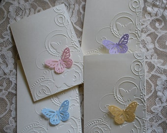 Handmade greeting cards: Set of 4 embossed butterfly cards.