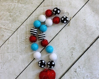 girls chunky bead necklace Alice in Wonderland necklace red aqua black and white girl bubblegum necklace  chunky bubblegum bead necklace