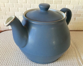 Vintage Discontinued Large 5 Cup Denby Langley Echo Blue Teapot with Integrated Strainer