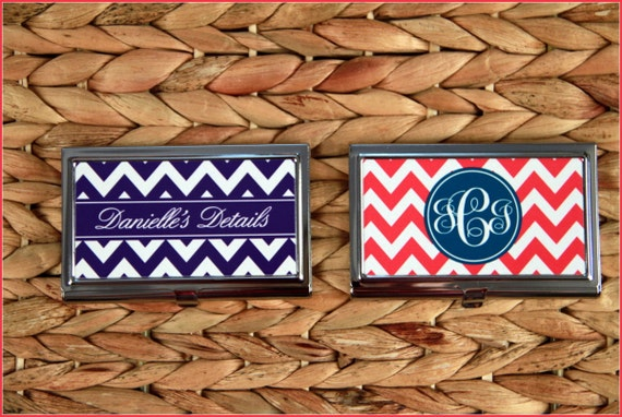 Chevron Business Card Case, Christmas Gifts for Coworkers & Employees, Personalized Monogrammed Desk Accessories Logo Corporate Gift