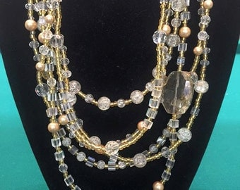 c&b Halo multi strand statement necklace- gold and clear