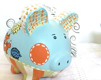 Personalized Piggy Bank, Blue and Orange Bank, Nursery Decor, Painted Piggy Bank, READY TO SHIP