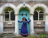 """RESERVED SALE Full length coat in rich shades of blue, purple and red with William Morris """"The Strawberry Thief"""" cotton trims."""