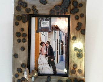 Metal Picture Frame with Heart, Wedding Photo 8x10