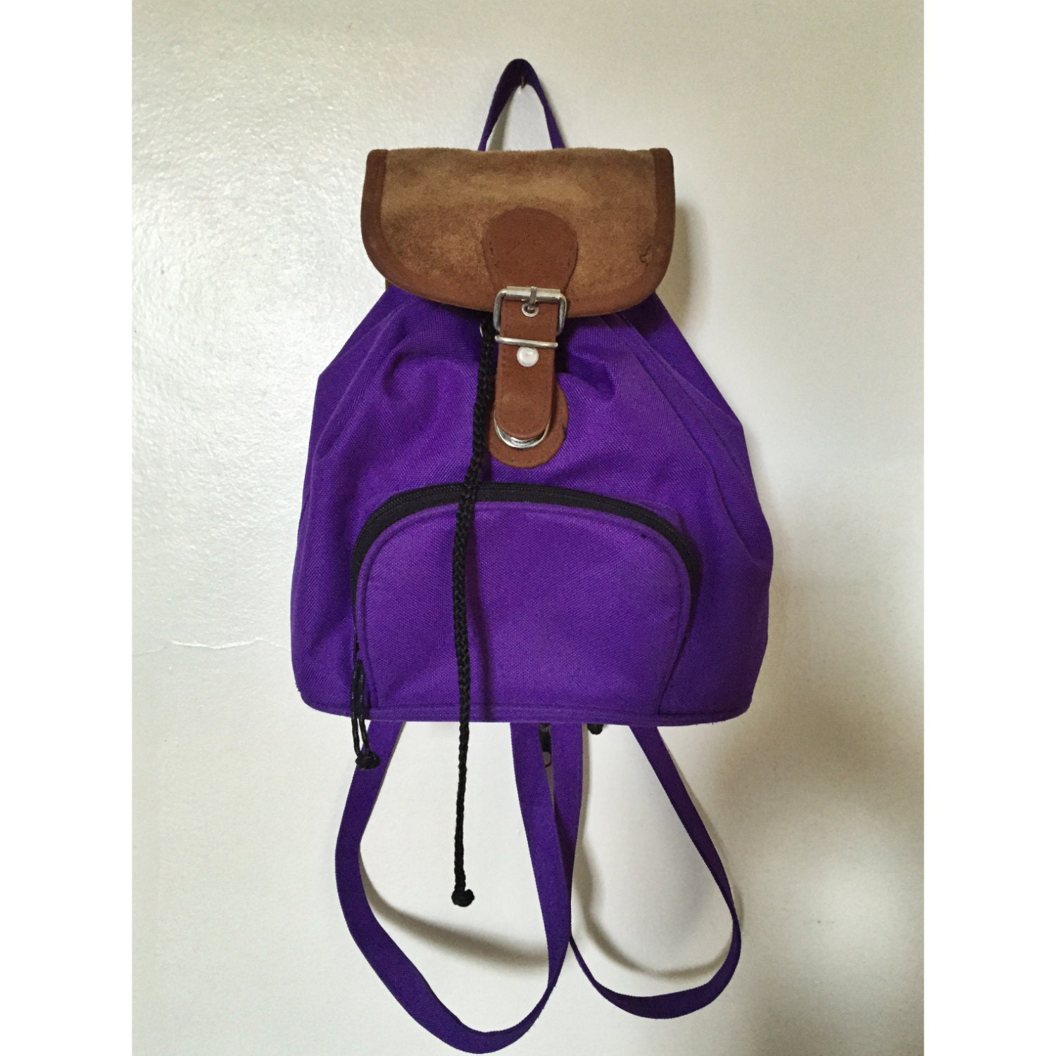90's Purple Suede Backpack Purse Mini Backpack Grunge