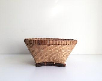 Vintage Handmade Woven Basket, Vintage Home Decor, Cottage Chic