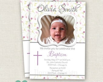 Floral Girl Baptism Invitation - Purple Baptism Invitation - First Communion Invitation - Girl Christening - Christening Baby Girl Invite