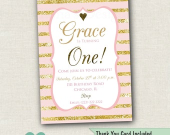 Pink and Gold First Invitation - Pink and Gold First Birthday Invitation - Pink and Gold Invitation