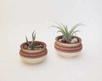 Set of Two Hand Crafted Ceramic Succulent Planter