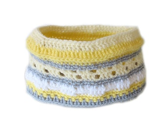 Stripy Crochet Neck Warmer - Yellow, Gray and White Crochet Cowl Scarf - Unique Handmade Scarf