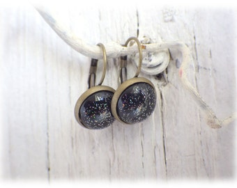 Galaxy earrings earrings vintage bronze or silver with cabochon style