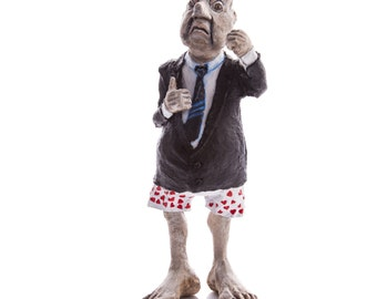 Paper mache sculpture , angry old man, caricature