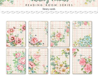 "Printable shabby style library cards / floral digital collage sheet /  3"" by 4"" /  instant download / digital book tags, labels"