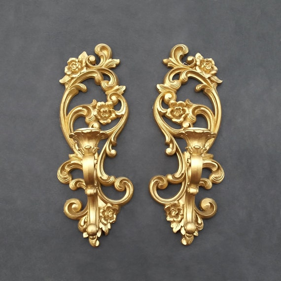 Antique Gold Candle Wall Sconces : Vintage Gold Homco Sconces Floral Candle Wall by TheCherryAttic