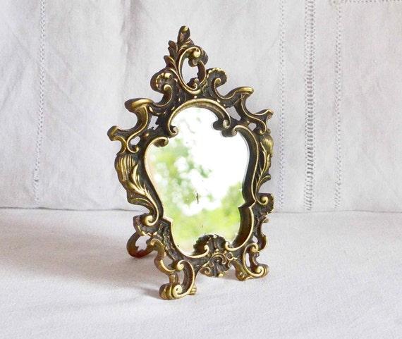 Antique French Bronze Stand Up Vanity Mirror Gilded Bronze