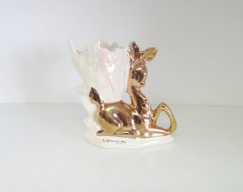 Vintage Vase Gold Fawn Dear and Cream Lustre Glaze, Kitsch Souvenir of Weymouth, Made in England, Circa 1950s