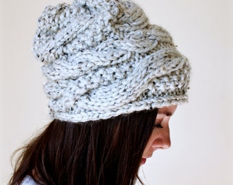 Chunky Slouchy Hat   Cable Knit Beanie   Light Oatmeal Tweed   Optional Large Pom   Fall/ Autumn Touque   The WILDWOOD Slouchy Hat