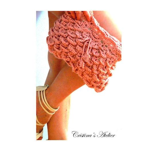Mermaid crochet pink purse- Eco friendly handbag- Boho crochet clutch- Pink women crochet purse- Recycled materials fashion handbag