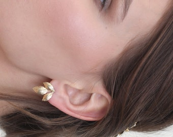 Leaf earrings, Gold earrings, stud earrings, Gold leaf earrings, gold stud earrings, simple stud earrings