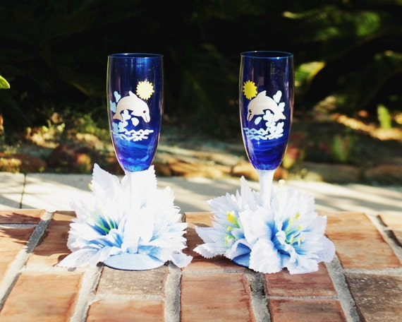 Destination Wedding Gift For Bride And Groom : and groom gift dolphin wedding hand painted glasses summer wedding ...