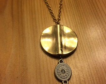 "Gold and White Coins Necklace - 28"" gold"