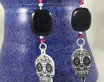 1 pair of sugar skull Halloween earrings