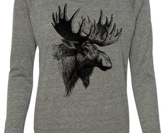 Moose Sweatshirt Alternative Slouchy Pullover Crop Raglan, Yoga Top, Sizes S-XL
