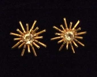 Retro Sterling Silver Star Burst Earrings, Twist On Backs