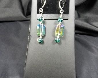 Green AB Crystal Earrings
