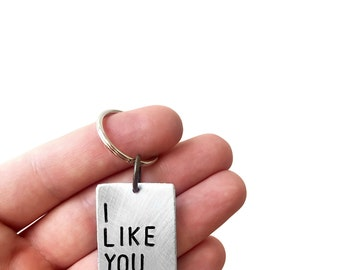 I Like You Today - Personalized Hand Stamped Key Tag - Handmade Keychain - by Modern Out