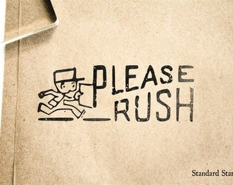 Please Rush Rubber Stamp - 2 x 2 inches