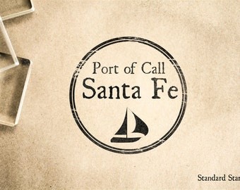 Port of Santa Fe Rubber Stamp - 2 x 2 inches
