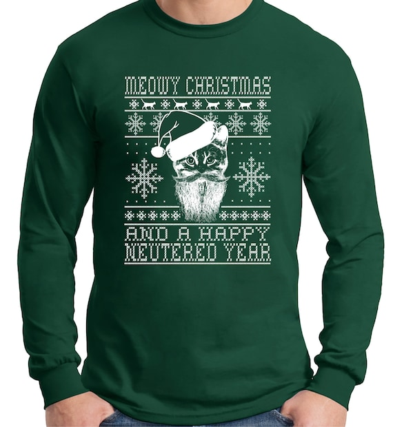 Ugly Christmas Sweater Designcat lover Long Sleeve t