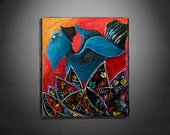 Canvas Art ' The Blue Meanie ' Abstract Art By Carlos F. Luzardo (Original Acrylic)