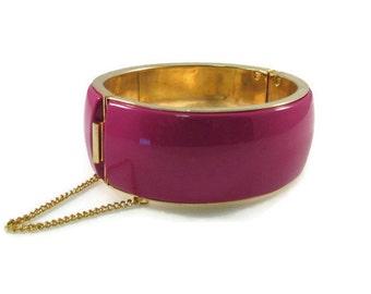 Wide Band Fuchsia and Brass Hinged Bangle Bracelet