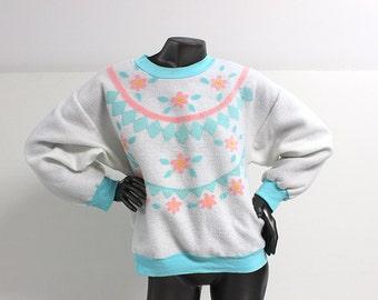 80s/90s Pastel Bold Spirit Flower Pattern Sweater