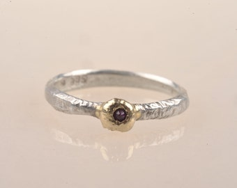 Ruby ring, 14ct recycled gold, reticulated recycled silver, July birthstone