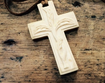 Handcarved Bone Cross Pendant Necklace with Plant Image